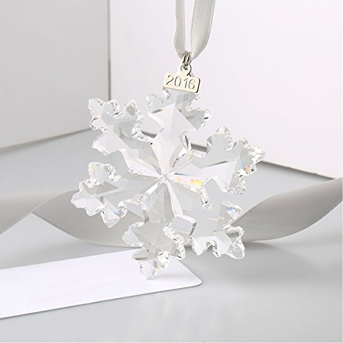 XIANGBAN Clear crystal snowflake star creative snowflake modeling series jewelry and jewelry box (year label removable) Clear Crystal Snowflake