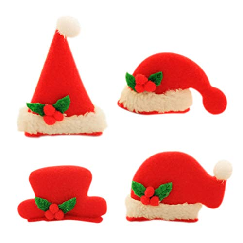 Frcolor Christmas Light Up Hair Clips, LED Flashing Santa Claus Hat Alligator Clips Hair Pins Barrettes