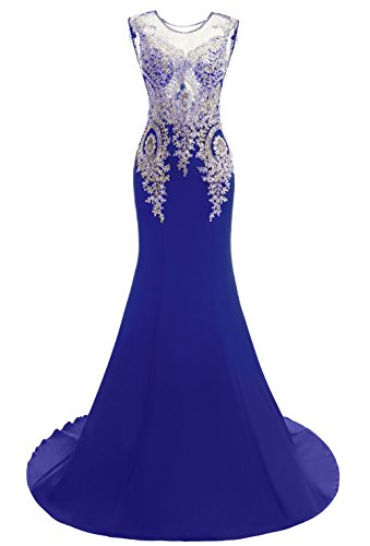 Formal Blue4 Embroidery Long Beaded Women's Evening Maxi Dress Prom Mermaid Bridal Annie's Sq67pwWH1x