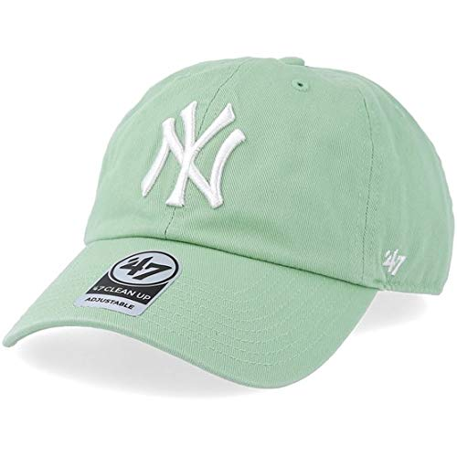 '47 New York Yankees Dad Hat Brand Pastel Clean Up Slouch Fit Strapback (Hemlock Green) - Green Adjustable Slouch Hat