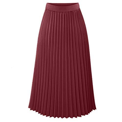 (Women Bohemian Style Elastic Waist Band Cotton Linen Long Maxi Skirt Dress)