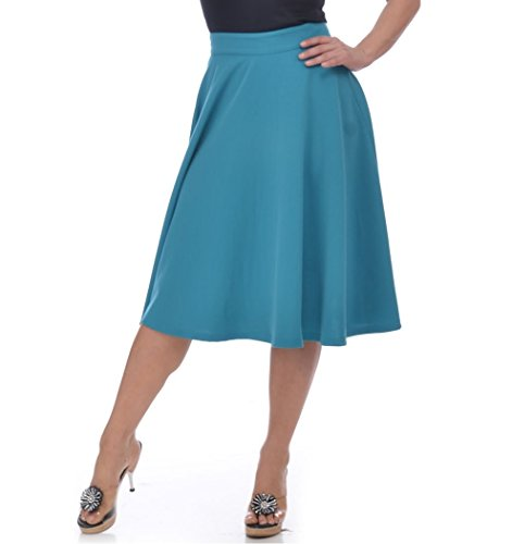 Steady-Clothing-High-Waist-Pin-up-Office-Lady-Teal-Swing-Circle-Midi-Skirt