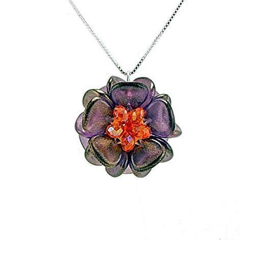 Handmade Amethyst and Orange Glass Bead Flower Pendant Necklace on Sterling Chain ()