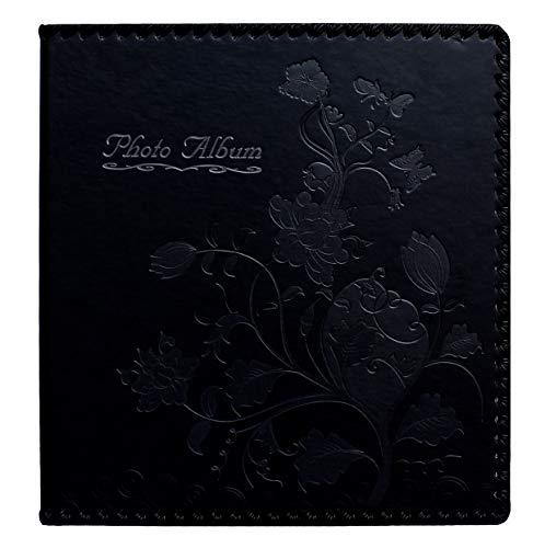 Beautyus Photo Album Book, Family Album, Leather Cover, Holds 3x5, 4x6, 5x7, 6x8, 8x10 Photos (Black, M)