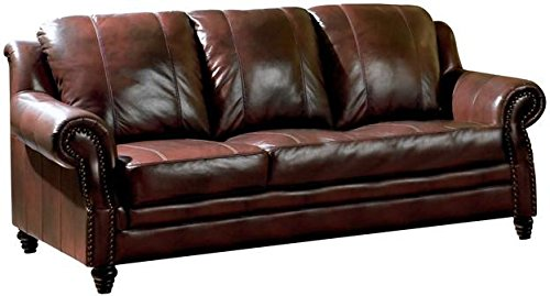 Princeton Rolled Arm Sofa Burgundy (Flexsteel Couch Leather)