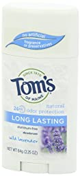 Tom\'s of Maine Natural Deodorant Stick, Aluminum-free, Lavender, 2.25 Ounce Stick, Pack of 6