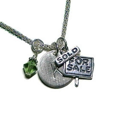 - Realtor Hand Stamped Sterling Silver Initial Charm Necklace
