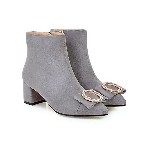 Pointed Kitten Toe Heels Imitated Boots Gray Closed AmoonyFashion Zipper Solid Women's Suede Ra0n0T