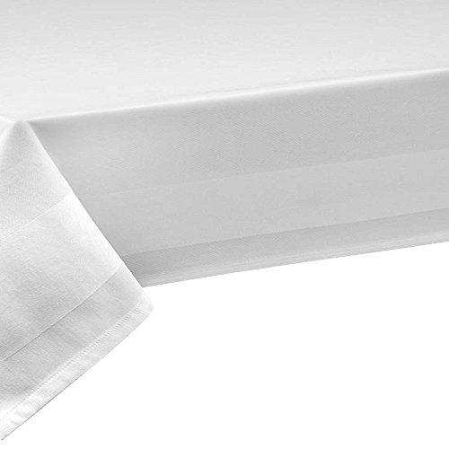 Weiss 140 x 420 cm DecoHome Textil Nappe 100% coton damassé - grandur 140 cm, longueur au choix (nappe au mètre), rectangulaire, blanc, Coton, Weiss, 140 x 420 cm