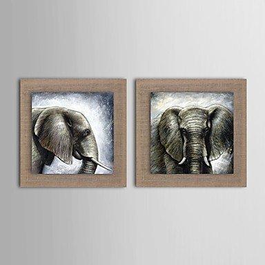 Pintura al óleo de la Juego de toallas de elefantes moderna con 2 Natural Lino pintadas con ampliado Marco: Amazon.es: Hogar