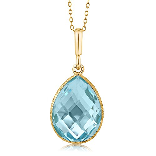 (Gem Stone King Blue Topaz Pear Shape Gold Plated 925 Sterling Silver Pendant Necklace (9.00 cttw, 16X12MM, With 18 inch Silver Chain))