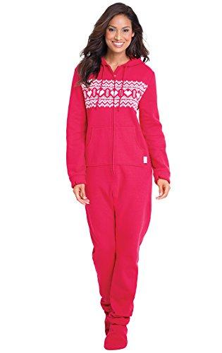 PajamaGram Women's Hoodie-Footie Heartwarmer Fleece Onesie Pajamas