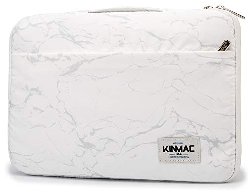 Kinmac 360 Degree Protective Waterproof Laptop Case Bag Sleeve with Handle (11.6 inch-12.5 inch, White Marble)