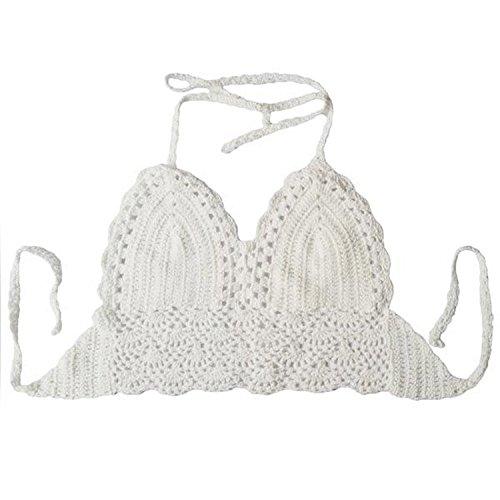 Viishow Women's Summer Crochet Crop Bikini Top (One Size,White) Crochet Bikini Top