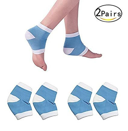 Healthcom 2 Pairs Spa Moisturising Silicone Gel Heel Socks for Dry Hard Cracked Skin Moisturizing Open Toe Comfy Recovery Socks, Blue