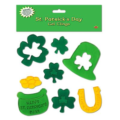 Beistle 33132 St. Patrick's Day Gel Clings Sheet, 7-1/2 by 7-1/2-Inch