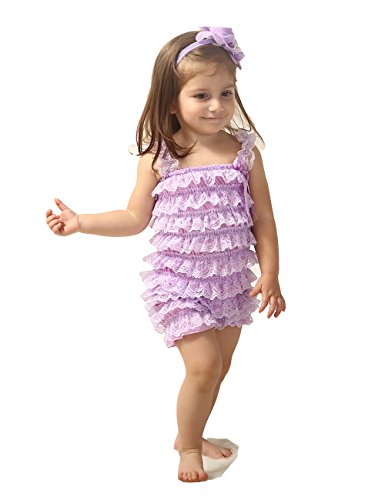 Fold Lace (Zcaynger Baby Girls Bowknot Lace Folds Romper and Headband (L(12-24month), Purple))