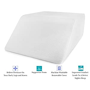 Comfort And Support Memory Foam Elevating Leg Rest Pillow - Sciatica, Pregnancy, and Knee Pain Relief - Layered Memory Foam With Washable Pillow Case