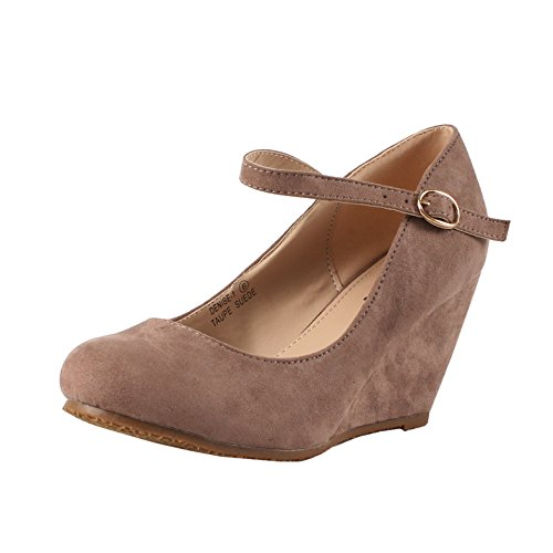 (Bella Marie Denise-1 Women's Round Toe Wedge Heel Mary Jane Squeaky Strap Suede Shoes Taupe 8)