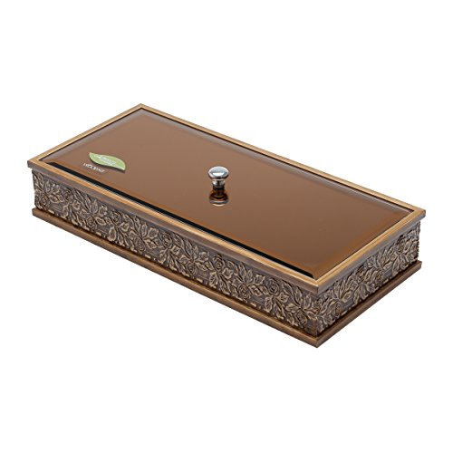 WoodArt Decorative Wooden Box with Glass Lid (Rectangle, Brown)