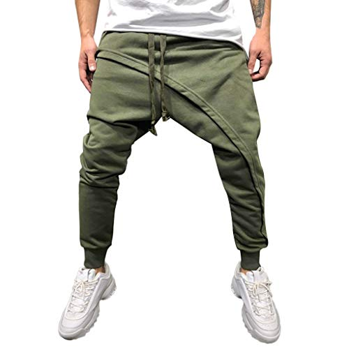 (Alangbudu Mens Jogger Pants Biker Slim Fit Casual Active Elastic Running Drawstring Trousers Skew Bridge Design Harem Jeans Army Green)