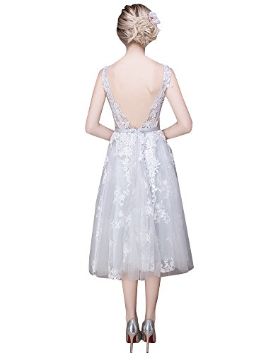 Kleid Spitze Arm Grau Beauty Brautjungfer Ohne Rückenfrei Schicht Durchschauen Emily WqHna
