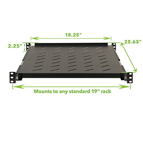 NavePoint Sliding Rack Vented Server Shelf 1U 19'' 4 Post Rack Mount Adjustable 24'' - 26'' by NavePoint