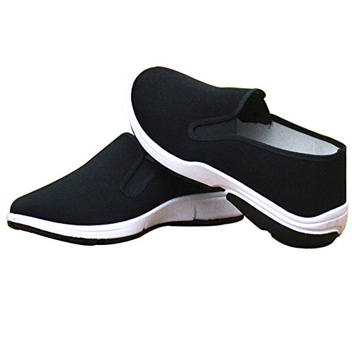 Aircee Men Chinese Traditional Old Beijing Shoes Kung Fu Tai Chi Rubber Sole Shoes Black (CHN 42 260mm (US Men 8/Women 8.5), 2-Black)