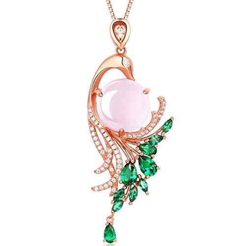 HXZZ Fine Jewelry Women Gifts Sterling Silver Natural Gemstone Rose Quartz Pendant Necklace