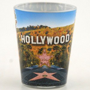 Hollywood Walk of Fame Stars Shot Glass With Palm Trees Pink Glitter Star 4 Pack