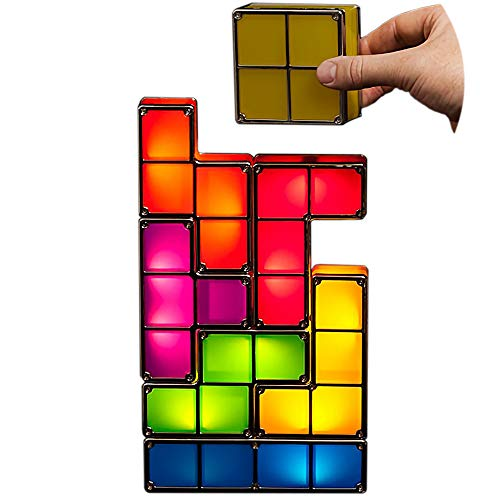 DIY 7 PCS Tetris Night Light 7 Colors Stackable Tangram Puzzles 7 Pieces LED Induction Interlocking Lamp 3D Toys Ideal Gift for Home Decorations (7 Colors)