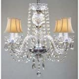 MURANO VENETIAN STYLE ALL CRYSTAL CHANDELIER W/SHADES!