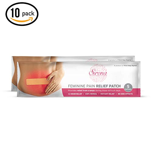 Sirona Instant Period Cramps Relief   Menstrual Cramps, Period Pain Relief Patches With Herbal Ingredient, No Side Effect - 10 Patches (2 Pack - 5 Patches Each)