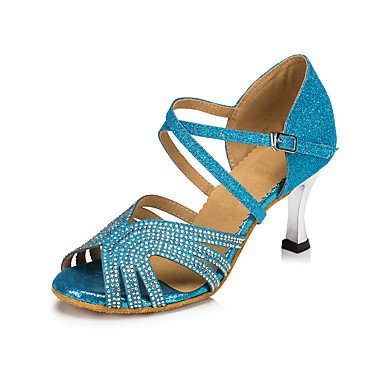 Moderno blue de Zapatos Salsa Latino baile Tacón Azul Personalizables d8rqwIrB