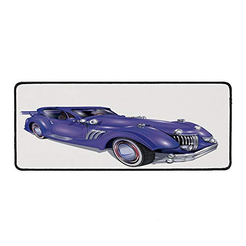 Cars Ordinary Mouse Pad,Custom Vehicle with Aerodynamic Design for High Speeds Cool Wheels Hood Spoilers Decorative for Computers Laptop Office & Home,15.75''Wx35.43''Lx0.12''H