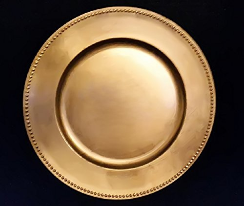 (SPRINGROSE Gold Charger Plates (set of 10) | Buy in Bulk | The Perfect Decoration for Yoru Tables | Perfect for Weddings, Party, Banquets, Anniversary Dinners, Christmas, Barbeques, Bridal Shower)