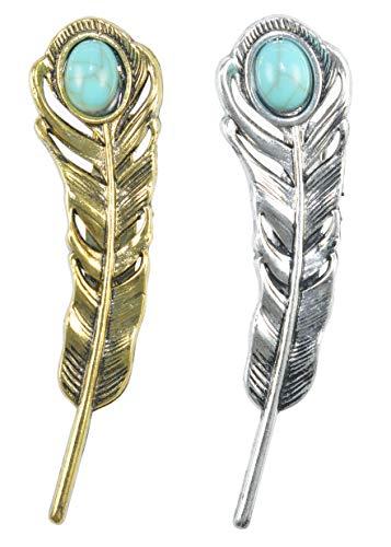 (Gyn&Joy Formal Gold Silver Feather Leaf Lapel Pin Brooch BZ270)