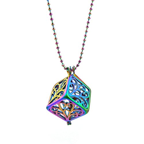 Rainbow Cage Necklace 3D Dice Necklace for Essential Oil Stainless Steel Square Cube Pendant Cage Hold Pearl Charm Beads