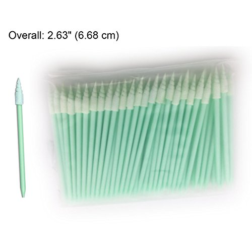 Cleanmo Spiral Pointed Foam Head Swabs for Cleaning Hard to Reach Area, Fibre Free Cleanroom Swab , 2.63'', Pack of 100