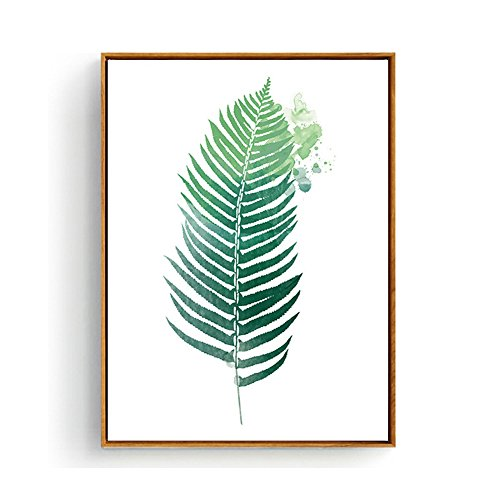 (Hepix Tropical Palm Leaves Wall Art Canvas Framed Botanical Prints Wall Decor Bathroom Bedroom Contemporary Wall Paintings for Modern Home Decor Stretched and Framed Ready to Hang 13 x 17 inch)