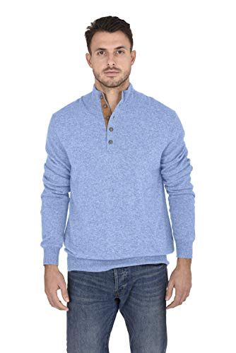 Cashmeren Men's 100% Pure Cashmere Classic Knit Soft Button Mock-Neck Polo Collar Pullover Sweater (Baby Blue, X-Large)