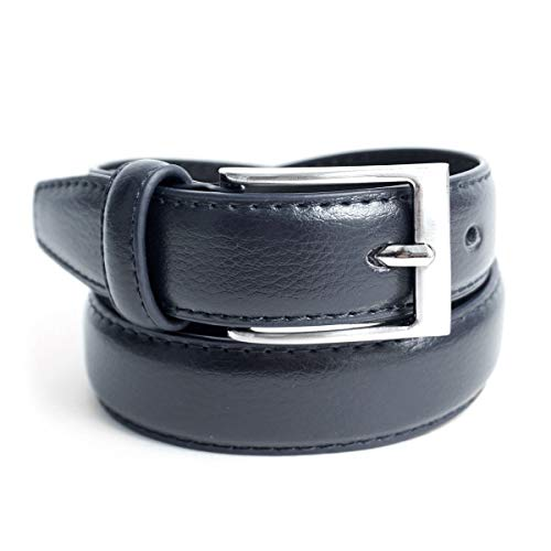 (Boy's Genuine Leather Dress Belt for Toddler/Little Boy/Big Boy (Navy, Large 28.5-32.5 in. Waist))