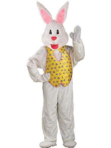 Rubie's Costume Adult Deluxe Bunny Costume With Mascot Head,White,One Size (Adult Easter Bunny Costumes)