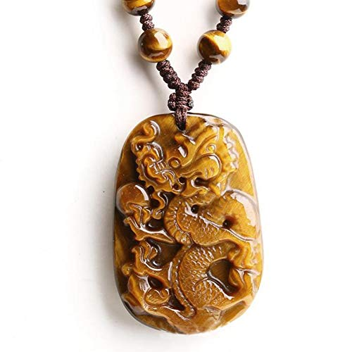 (Ancient Chinese Traditional Half Tiger Eye Stone Dragon Pendant/Lucky Necklaces/Christmas Gift/Car Decoration/Theme/Christmas Gift/Birthday)