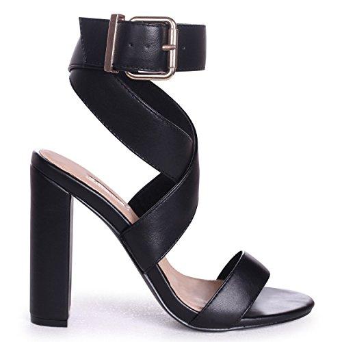 Daniella - Black Nappa Cross Over Front Strap Block Heel Black PFQ3b