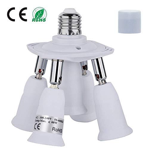 Light Socket Adapter, 5 In 1 Electric Spark Protection E26 E27 CFL Adapter Energy Saving Heat Resistance Light Bulb Socket Adapter 360 Degrees Adjustable 180 Degree Bendable Max Watt 300W