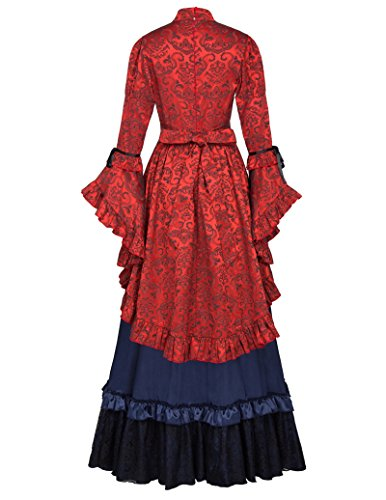 Belle Langarm Rot marineblau Downton Maxikleid Damen Victorianische Poque Abbey Edwardian Retro qAzprAwt