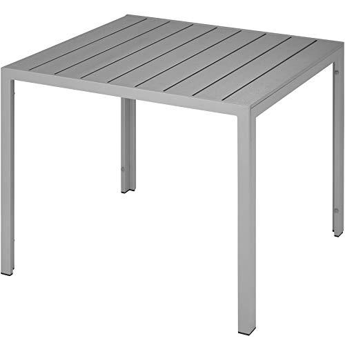TecTake Table de Jardin Carrée, Meuble d\'Extérieur en Aluminium - Diverses  Couleurs - (Gris | n° 402955)