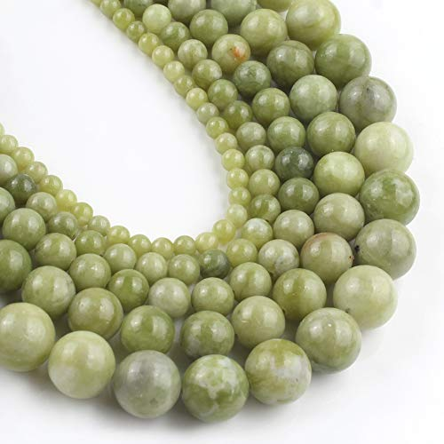 Yochus 10mm Green China Jades Round Loose Beads Natural Stone Beads for Jewelry Making