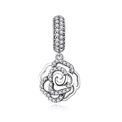 Wedding Day Charm - Junolla Mother's Day Gifts 925 Sterling Silver CZ Rose Flower Dangle Charms for Bracelets Charm Necklace